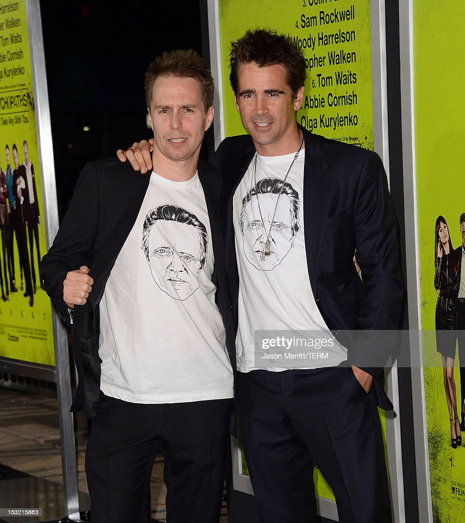 Actors <a gi-track='captionPersonalityLinkClicked' href=/galleries/search?phrase=Sam+Rockwell&family=editorial&specificpeople=213214 ng-click='$event.stopPropagation()'>Sam Rockwell</a> (L) and <a gi-track='captionPersonalityLinkClicked' href=/galleries/search?phrase=Colin+Farrell&family=editorial&specificpeople=202154 ng-click='$event.stopPropagation()'>Colin Farrell</a> arrive at the premiere of CBS Films' 'Seven Psychopaths' at Mann Bruin Theatre on October 1, 2012 in Westwood, California.