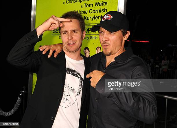 Actors Sam Rockwell and Jeremy Renner arrive at the Los Angeles premiere of 'Seven Psychopaths' at Mann Bruin Theatre on October 1 2012 in Westwood...
