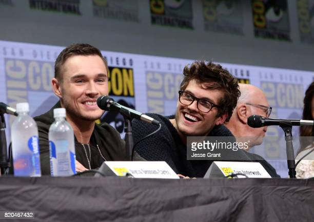 Actors Sam Underwood and Daniel Sharman from 'Fear The Walking Dead' at the Hall H panel with AMC at San Diego ComicCon International 2017 at the San...