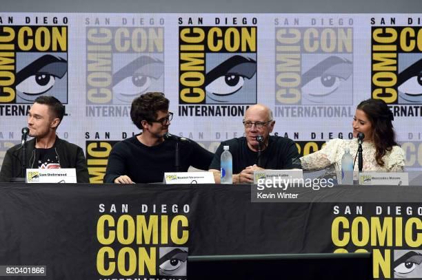 Actors Sam Underwood Daniel Sharman Dayton Callie and Mercedes Mason speak onstage at ComicCon International 2017 AMC's 'Fear The Walking Dead' Panel...