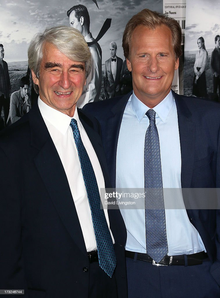 Actors Sam Waterson (L) and Jeff Daniels attend the premiere of HBO's 'The Newsroom' Season 2 at the Paramount Theater on the Paramount Studios lot on July 10, 2013 in Hollywood, California.