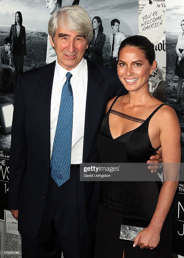 Actors Sam Waterson (L) and Olivia Munn attend the premiere of HBO's 'The Newsroom' Season 2 at the Paramount Theater on the Paramount Studios lot on July 10, 2013 in Hollywood, California.