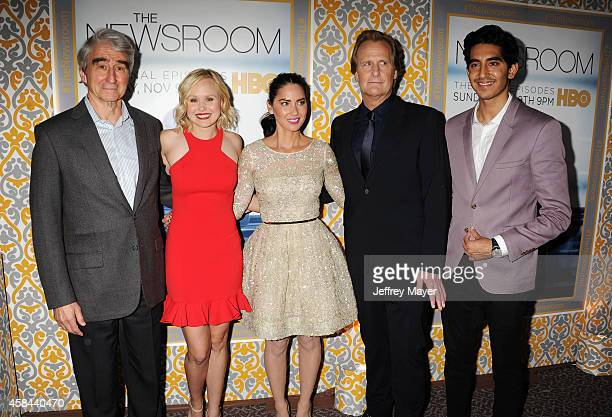 Actors Sam Waterston Alison Pill Olivia Munn Jeff Daniels Dev Patel attend the Los Angeles season 3 premiere of HBO's series 'The Newsroom' held at...