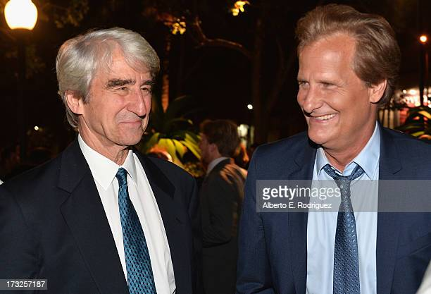 Actors Sam Waterston and Jeff Daniels attend the after party for the premiere of HBO's 'The Newsroom' Season 2 at Paramount Theater on the Paramount...