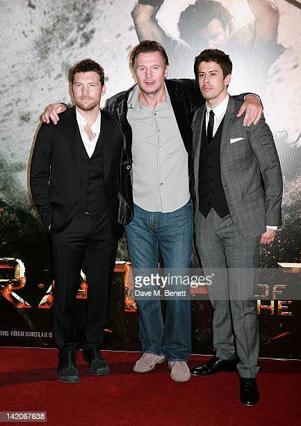 Actors Sam Worthington Liam Neeson and Toby Kebbell arrive at the European Premiere of 'Wrath Of The Titans' at BFI Imax on March 29 2012 in London...