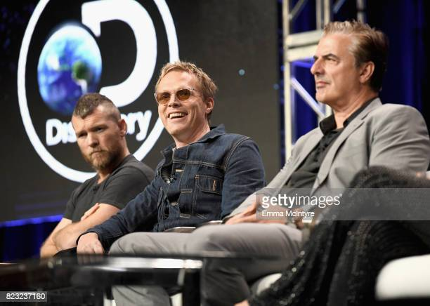 Actors Sam Worthington Paul Bettany and Chris Noth at the 'Manhunt Unabomber' panel for the 'Discovery Channel Discovery' portion of the TCA Summer...