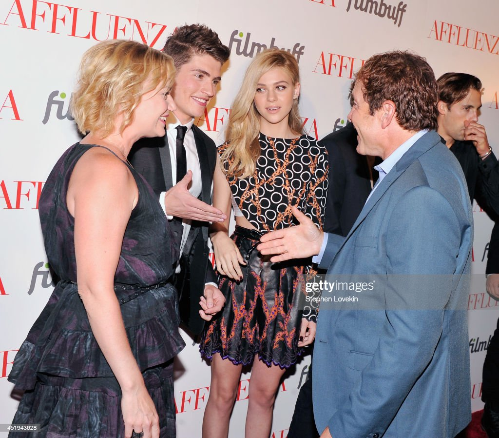 Actors <a gi-track='captionPersonalityLinkClicked' href=/galleries/search?phrase=Samantha+Mathis&family=editorial&specificpeople=213487 ng-click='$event.stopPropagation()'>Samantha Mathis</a>, <a gi-track='captionPersonalityLinkClicked' href=/galleries/search?phrase=Gregg+Sulkin&family=editorial&specificpeople=3970071 ng-click='$event.stopPropagation()'>Gregg Sulkin</a>, <a gi-track='captionPersonalityLinkClicked' href=/galleries/search?phrase=Nicola+Peltz&family=editorial&specificpeople=5306904 ng-click='$event.stopPropagation()'>Nicola Peltz</a>, and <a gi-track='captionPersonalityLinkClicked' href=/galleries/search?phrase=Steve+Guttenberg&family=editorial&specificpeople=752891 ng-click='$event.stopPropagation()'>Steve Guttenberg</a> attend the 'Affluenza' premiere at SVA Theater on July 9, 2014 in New York City.