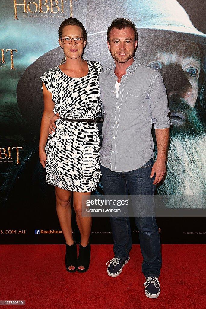 Actors Samantha Tolj (L) and Richard Cawthorne arrive at the premiere of 'The Hobbit: Demolition Of Smaug' at Village Cinemas Rivoli on December 17, 2013 in Melbourne, Australia.