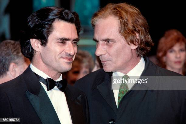 Actors Sami Frey and GianMaria Volonte share a conversation on May 12 1988 before the projection of 'L'oeuvre au Noir' by Andre Delvaux on the second...