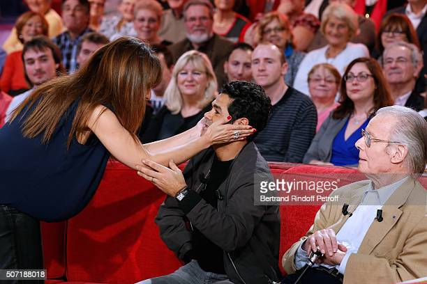 Actors Samia Sassi Jamel Debbouze and Jean Piat attend the 'Vivement Dimanche' French TV Show at Pavillon Gabriel on January 27 2016 in Paris France