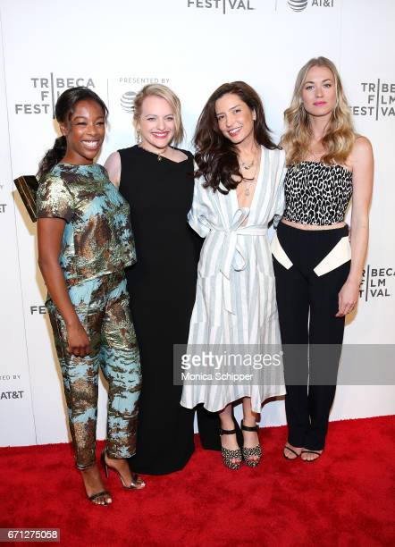 Actors Samira Wiley ands Elisabeth Moss director and producer Reed Morano and actress Yvonne Strahovski attend the premiere of 'The Handmaid's Tale'...