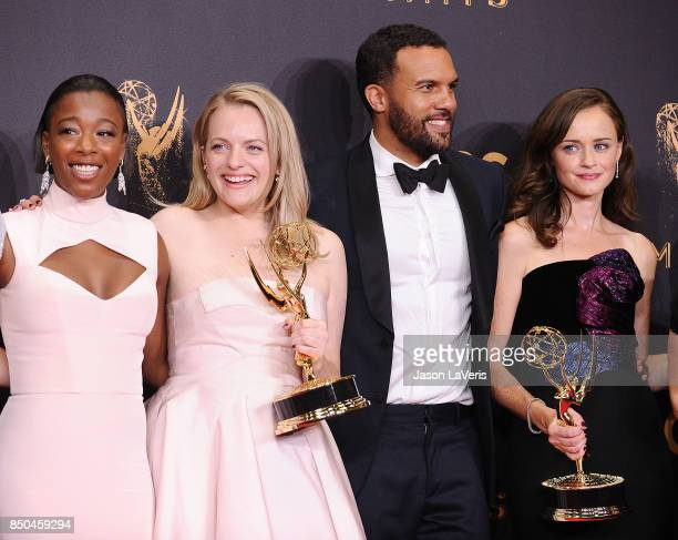Actors Samira Wiley Elisabeth Moss OT Fagbenle and Alexis Bledel attend the 69th annual Primetime Emmy Awards at Microsoft Theater on September 17...