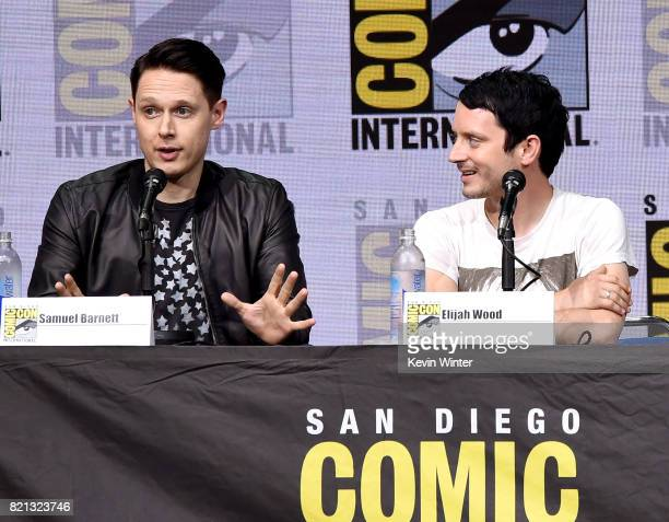 Actors Samuel Barnett and Elijah Wood at Dirk Gently's Holistic Detective Agency BBC America Official Panel during ComicCon International 2017 at San...