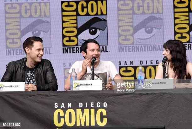 Actors Samuel Barnett Elijah Wood and Hannah Marks at Dirk Gently's Holistic Detective Agency BBC America Official Panel during ComicCon...