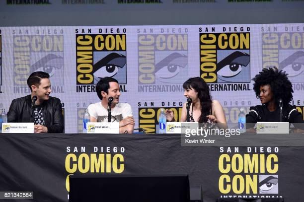 Actors Samuel Barnett Elijah Wood Hannah Marks and Jade Eshete at Dirk Gently's Holistic Detective Agency BBC America Official Panel during ComicCon...