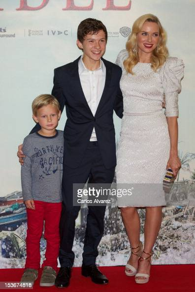Actors Samuel Joslin Tom Holland and actress Naomi Watts attend the 'The Impossible' premiere at Kinepolis cinema on October 8 2012 in Madrid Spain