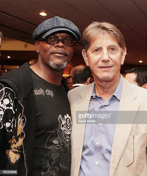 Actors Samuel L Jackosn and Peter Coyote pose at the afterparty for the premiere of Yari Film's 'Resurrecting the Champ' at the Academy Theater on...