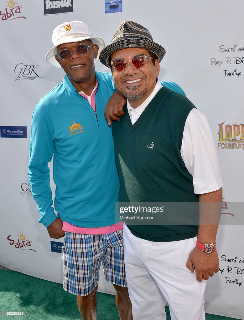 Actors <a gi-track='captionPersonalityLinkClicked' href=/galleries/search?phrase=Samuel+L.+Jackson&family=editorial&specificpeople=167234 ng-click='$event.stopPropagation()'>Samuel L. Jackson</a> (L) and <a gi-track='captionPersonalityLinkClicked' href=/galleries/search?phrase=George+Lopez&family=editorial&specificpeople=202546 ng-click='$event.stopPropagation()'>George Lopez</a> attend the 7th annual <a gi-track='captionPersonalityLinkClicked' href=/galleries/search?phrase=George+Lopez&family=editorial&specificpeople=202546 ng-click='$event.stopPropagation()'>George Lopez</a> Celebrity Golf Classic presented by Sabra Salsa at Lakeside Golf Club on May 5, 2014 in Burbank, California.
