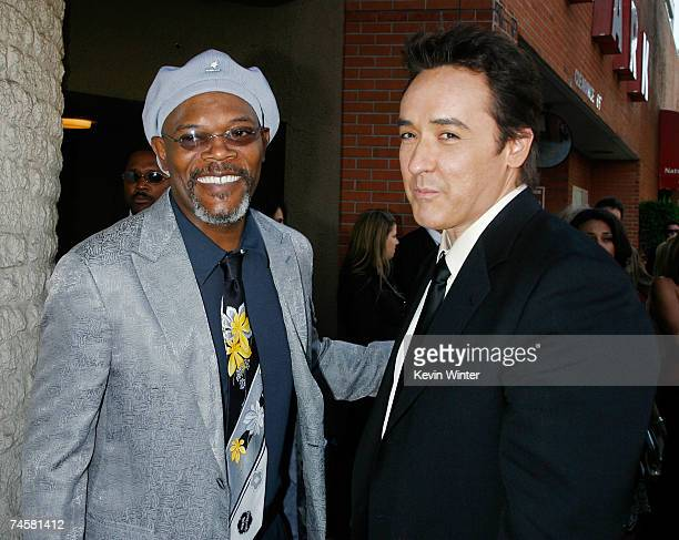 Actors Samuel L Jackson and John Cusack arrive to the premiere of MGM and Dimension Films' '1408' held at Mann National Theatre on June 12 2007 in...