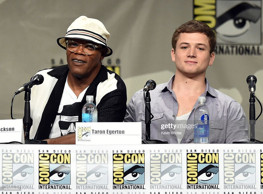 Actors Samuel L. Jackson (L) and Taron Egerton attend the 20th Century Fox presentation during Comic-Con International 2014 at San Diego Convention Center on July 25, 2014 in San Diego, California.