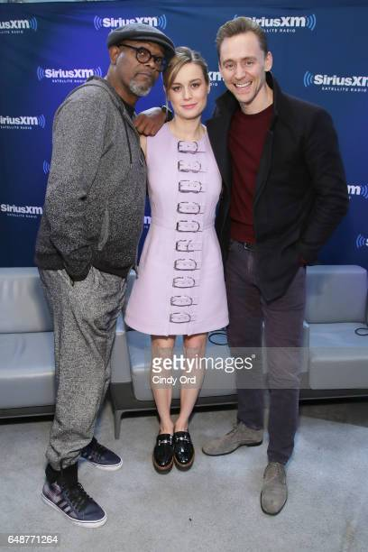 Actors Samuel L Jackson Brie Larson and Tom Hiddleston attend SiriusXM's 'Town Hall' with the cast of 'Kong Skull Island' town hall to air on...