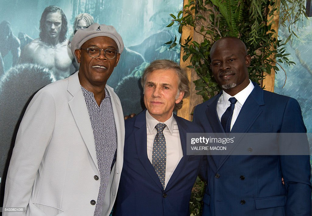 Actors Samuel L. Jackson, Christoph Waltz and Djimon Hounsou attend the world premiere of 'The Legend of Tarzan' in Hollywood, California, on June 27, 2016. / AFP / VALERIE