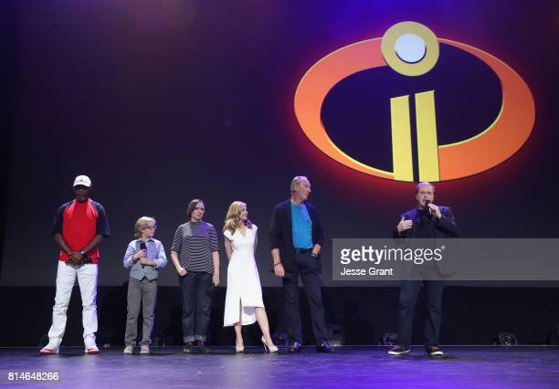 Actors Samuel L Jackson Huck Milner Sarah Vowell Holly Hunter and Craig T Nelson and director Brad Bird of INCREDIBLES 2 took part today in the Walt...
