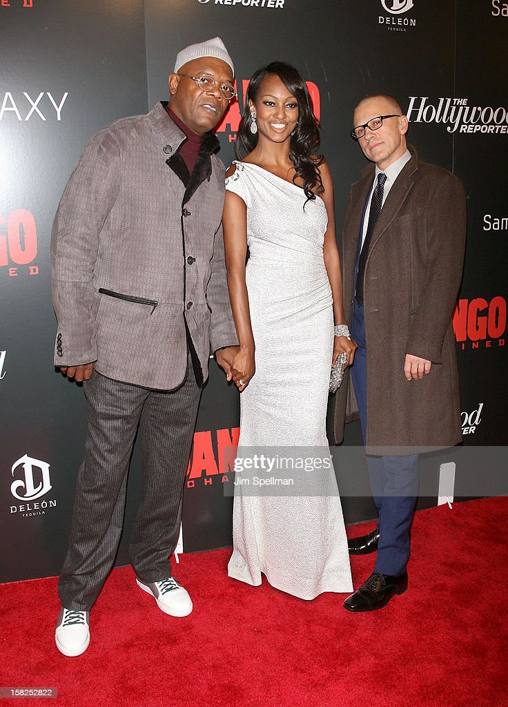 Actors <a gi-track='captionPersonalityLinkClicked' href=/galleries/search?phrase=Samuel+L.+Jackson&family=editorial&specificpeople=167234 ng-click='$event.stopPropagation()'>Samuel L. Jackson</a>, Nichole Galicia and <a gi-track='captionPersonalityLinkClicked' href=/galleries/search?phrase=Christoph+Waltz&family=editorial&specificpeople=4276914 ng-click='$event.stopPropagation()'>Christoph Waltz</a> attend The Weinstein Company with The Hollywood Reporter, Samsung Galaxy & The Cinema Society screening of 'Django Unchained' at the Ziegfeld Theatre on December 11, 2012 in New York City.