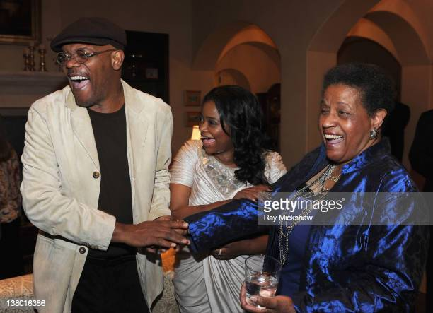 Actors Samuel L Jackson Octavia Spencer and Myrlie EversWilliams at the after party for the Outstanding Performer of the Year Award Tribute to Viola...