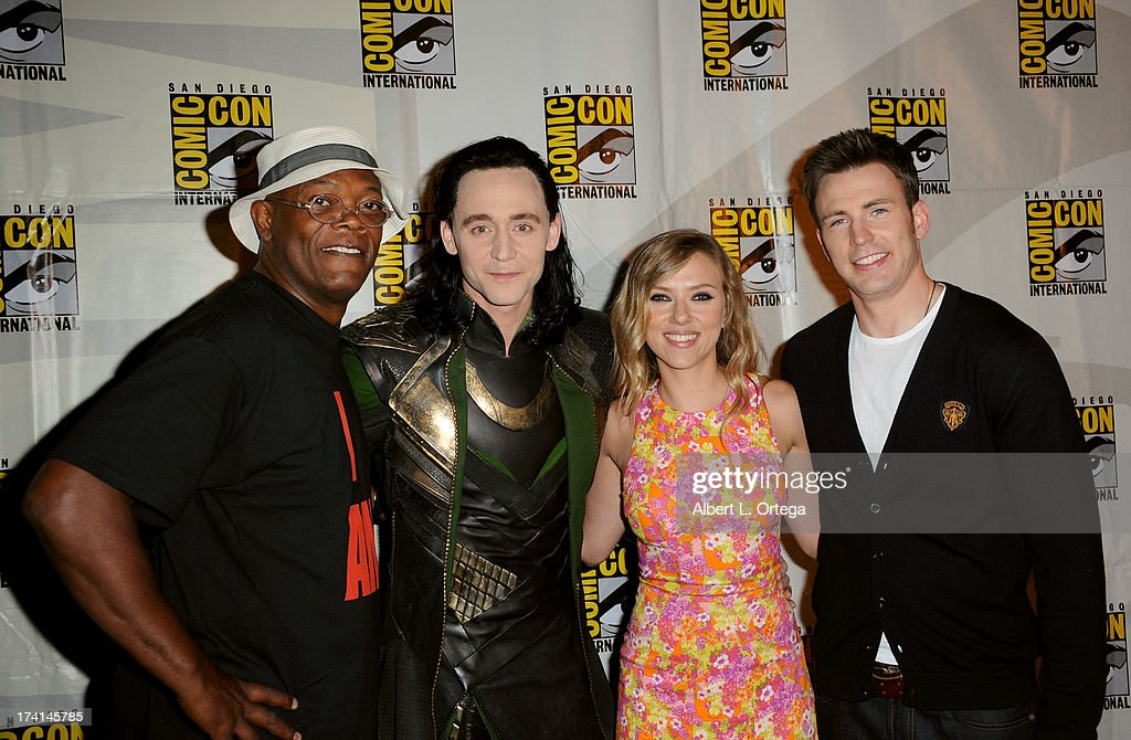 Actors Samuel L. Jackson, Tom Hiddleston, Scarlett Johansson, and Chris Evans speak onstage at Marvel Studios 'Thor: The Dark World' and 'Captain America: The Winter Soldier' during Comic-Con International 2013 at San Diego Convention Center on July 20, 2013 in San Diego, California.