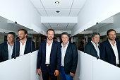 Actors Samuel Le Bihan and Lionel Astier present the France 2 TV Series 'Alex Hugo' during the 'Vivement Dimanche' French TV Show Held at Pavillon...