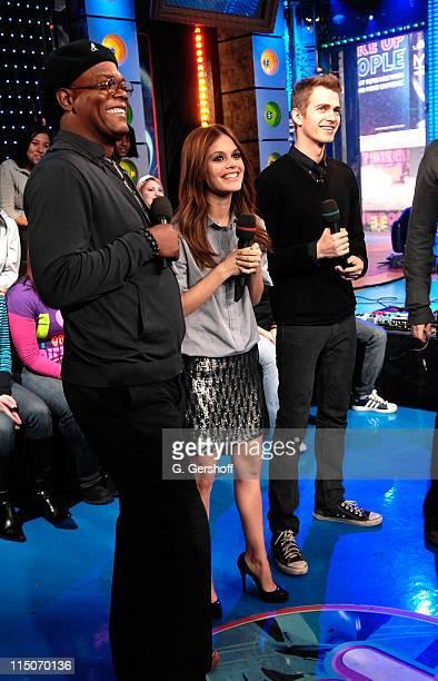 Actors Samuel LJackson Hayden Christensen and actress Rachel Bilson visit MTV's 'TRL' at MTV Studios Times Square on February 12 2008 in New York City