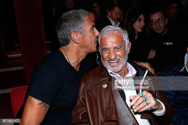 Actors Samy Naceri and Jean Paul Belmondo attend LouisMichel Colla the Director of the 'Theatre de la Gaite Montparnasse' Celebrates his 60th...