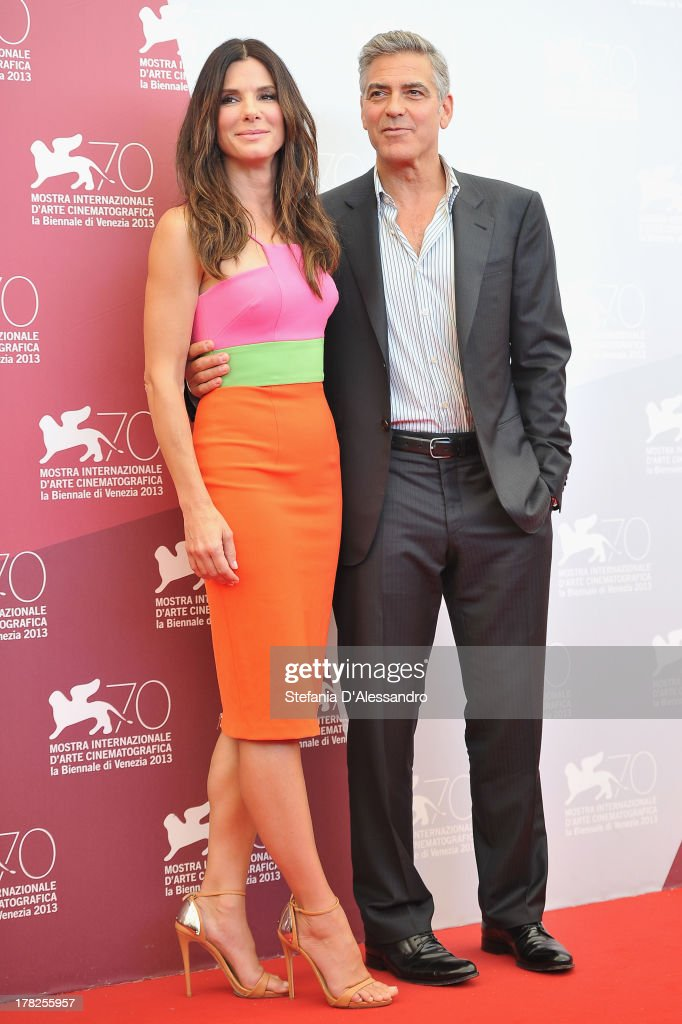 Actors Sandra Bullock and George Clooney attend 'Gravity' Photocall during the 70th Venice International Film Festival on August 28, 2013 in Venice, Italy.
