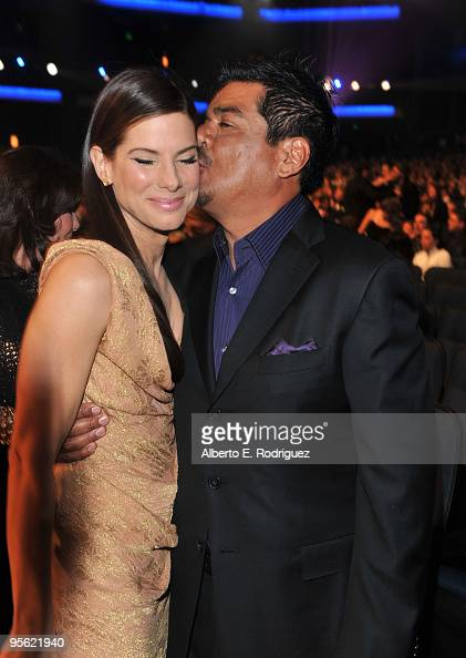 Actors Sandra Bullock and George Lopez attend the People's Choice Awards 2010 held at Nokia Theatre LA Live on January 6 2010 in Los Angeles...
