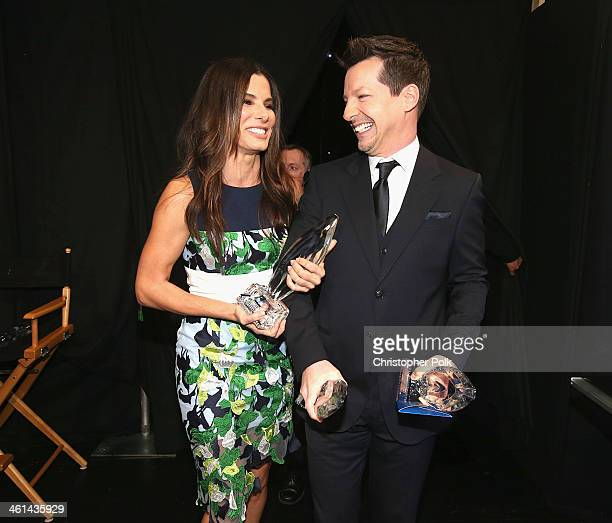 Actors Sandra Bullock and Sean Hayes attend The 40th Annual People's Choice Awards at Nokia Theatre LA Live on January 8 2014 in Los Angeles...