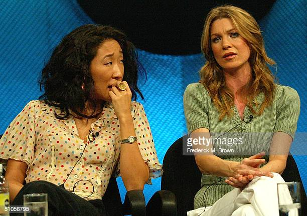 Actors Sandra Oh and Ellen Pompeo of 'Grey's Anatomy' speaks with the media at the ABC Summer TCA Press Tour Day 2 at the Century Plaza Hotel June 13...