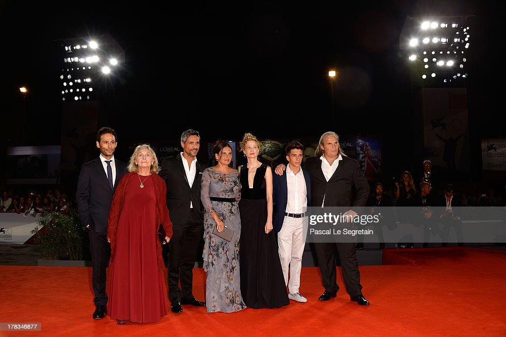 Actors Sandro Maria Campagna, <a gi-track='captionPersonalityLinkClicked' href=/galleries/search?phrase=Elena+Cotta&family=editorial&specificpeople=11308432 ng-click='$event.stopPropagation()'>Elena Cotta</a>, Carmine Maringola, director Emma Dante, actors Dario Casarolo, <a gi-track='captionPersonalityLinkClicked' href=/galleries/search?phrase=Alba+Rohrwacher&family=editorial&specificpeople=4296508 ng-click='$event.stopPropagation()'>Alba Rohrwacher</a> and a guest attend the 'Via Castellana Bandiera' premiere during the 70th Venice International Film Festival at the Palazzo del Cinema on August 29, 2013 in Venice, Italy.