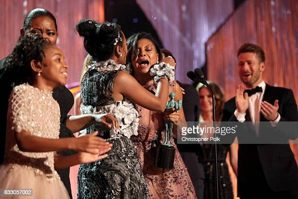 Actors Saniyya Sidney Octavia Spencer Janelle Monae Taraji P Henson and Glen Powell during The 23rd Annual Screen Actors Guild Awards at The Shrine...