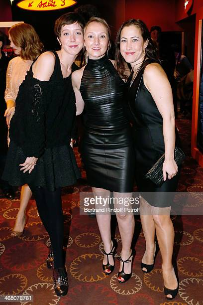 Actors Sara Giraudeau Audrey Lamy and Myriam Charleins attend 'La Belle et la Bete' Paris Premiere Held at Gaumont Opera on February 9 2014 in Paris...