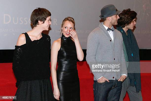Actors Sara Giraudeau Jonathan Demurger Audrey Lamy and Louka Meliava presenting the movie attend 'La Belle et la Bete' Paris Premiere Held at...