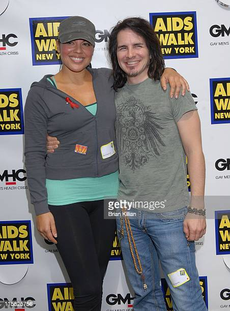 Actors Sara Ramirez and Hal Sparks during the 23rd annual AIDS walk in Central Park on May 18 2008 in New York City