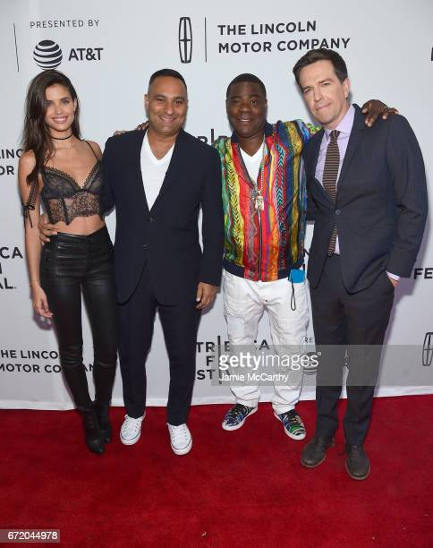 Actors Sara Sampaio Russell Peters Tracy Morgan and producer Ed Helms attend 'The Clapper' Premiere during the 2017 Tribeca Film Festival at SVA...