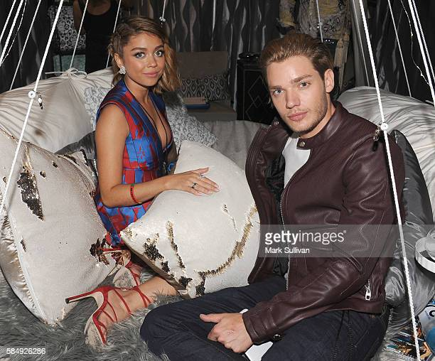Actors Sarah Hyland and Dominic Sherwood attend the Backstage Creations Retreat at Teen Choice 2016 at The Forum on July 31 2016 in Inglewood...