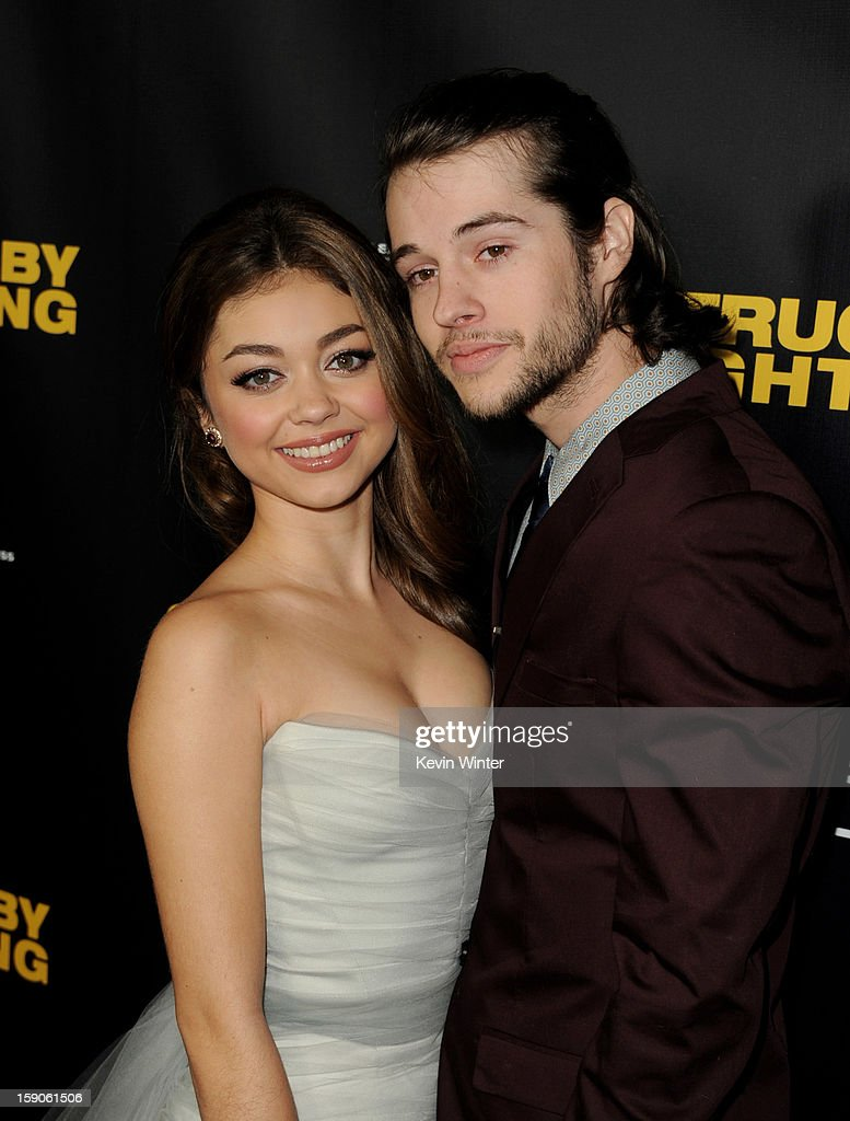 Actors Sarah Hyland (L) and Matt Prokop arrive at a screening of Tribeca Film's 'Struck By Lightning' at the Chinese Cinema 6 Theaters on January 6, 2013 in Los Angeles, California.
