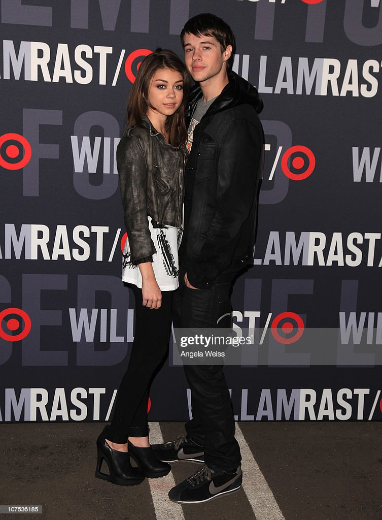 Actors <a gi-track='captionPersonalityLinkClicked' href=/galleries/search?phrase=Sarah+Hyland&family=editorial&specificpeople=3989646 ng-click='$event.stopPropagation()'>Sarah Hyland</a> and <a gi-track='captionPersonalityLinkClicked' href=/galleries/search?phrase=Matt+Prokop&family=editorial&specificpeople=5363862 ng-click='$event.stopPropagation()'>Matt Prokop</a> arrive at the launch of Target's & William Rast's Limited Edition Collection shopping event at Factory Place on December 11, 2010 in Los Angeles, California.