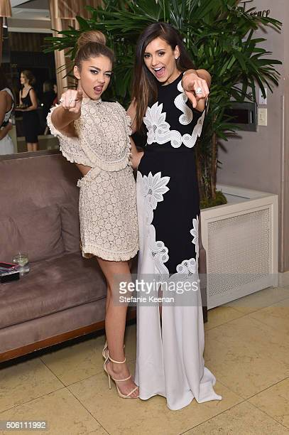 Actors Sarah Hyland and Nina Dobrev attends ELLE's 6th Annual Women in Television Dinner Presented by Hearts on Fire Diamonds and Olay at Sunset...