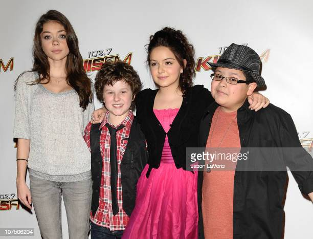 Actors Sarah Hyland Nolan Gould Ariel Winter and Rico Rodriguez attend 1027 KIIS FM's Jingle Ball 2010 at Nokia Theatre LA Live on December 5 2010 in...
