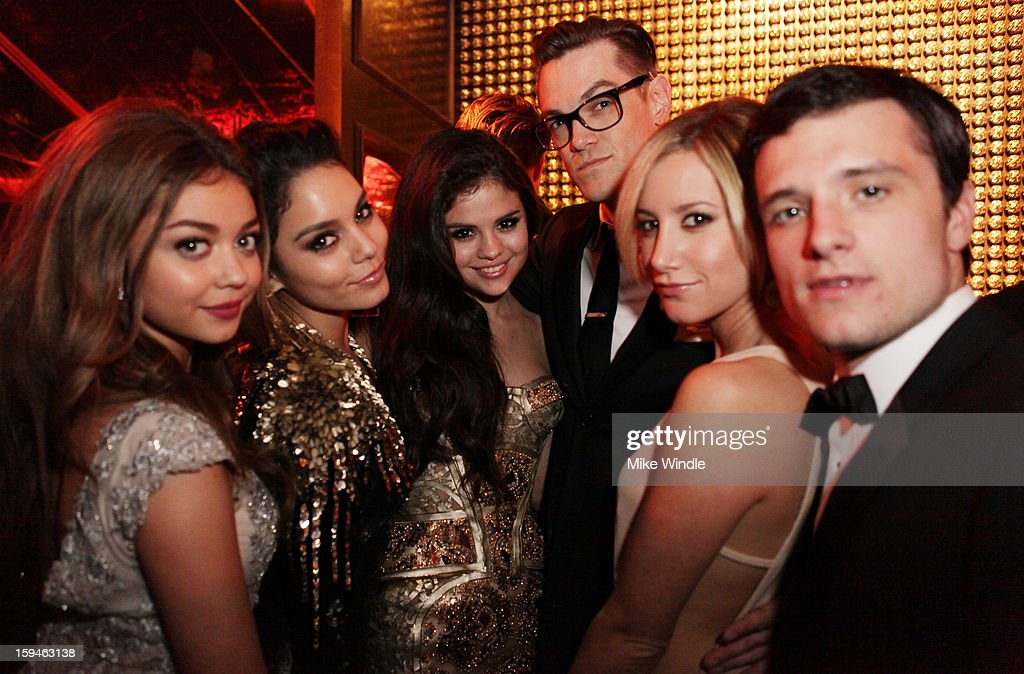 Actors Sarah Hyland, Vanessa Hudson, Selena Gomez, Ashley Tisdale and Josh Hutcherson attends the The Weinstein Company's 2013 Golden Globe Awards after party presented by Chopard, HP, Laura Mercier, Lexus, Marie Claire, and Yucaipa Films held at The Old Trader Vic's at The Beverly Hilton Hotel on January 13, 2013 in Beverly Hills, California.