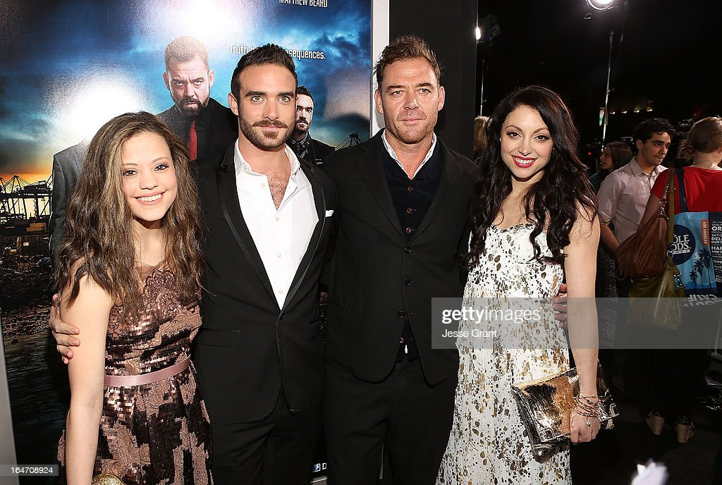Actors, Sarah Jeffery, Joshua Sasse, <a gi-track='captionPersonalityLinkClicked' href=/galleries/search?phrase=Marton+Csokas&family=editorial&specificpeople=2133714 ng-click='$event.stopPropagation()'>Marton Csokas</a> and <a gi-track='captionPersonalityLinkClicked' href=/galleries/search?phrase=Leah+Gibson&family=editorial&specificpeople=7058948 ng-click='$event.stopPropagation()'>Leah Gibson</a> attends the Los Angeles Premiere of Rogue at ArcLight Cinemas on March 26, 2013 in Hollywood, California.